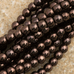 200 Czech 3mm Pressed Glass Round Beads Chocolate Bronze (14435B)