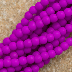 200 Czech 3mm Pressed Glass Round Beads Neon Purple (25125)