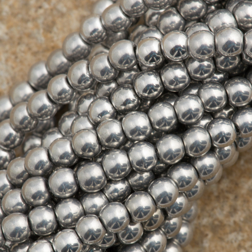 200 Czech 3mm Pressed Glass Round Beads Silver (27000)