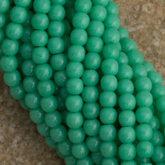 200 Czech 3mm Pressed Glass Round Beads Opaque Turquoise (63130)