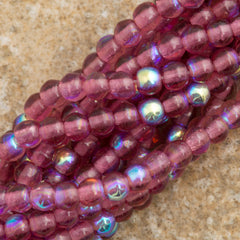 200 Czech 3mm Pressed Glass Round Beads Fuchsia AB (70350X)