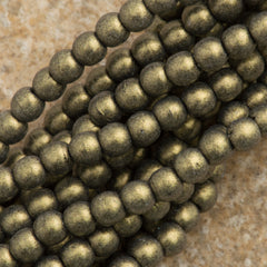 200 Czech 3mm Pressed Glass Round Beads Metallic Suede Gold (79080)