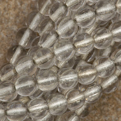 100 Czech 6mm Pressed Glass Round Crystal Silver Lined Beads (00030SL)