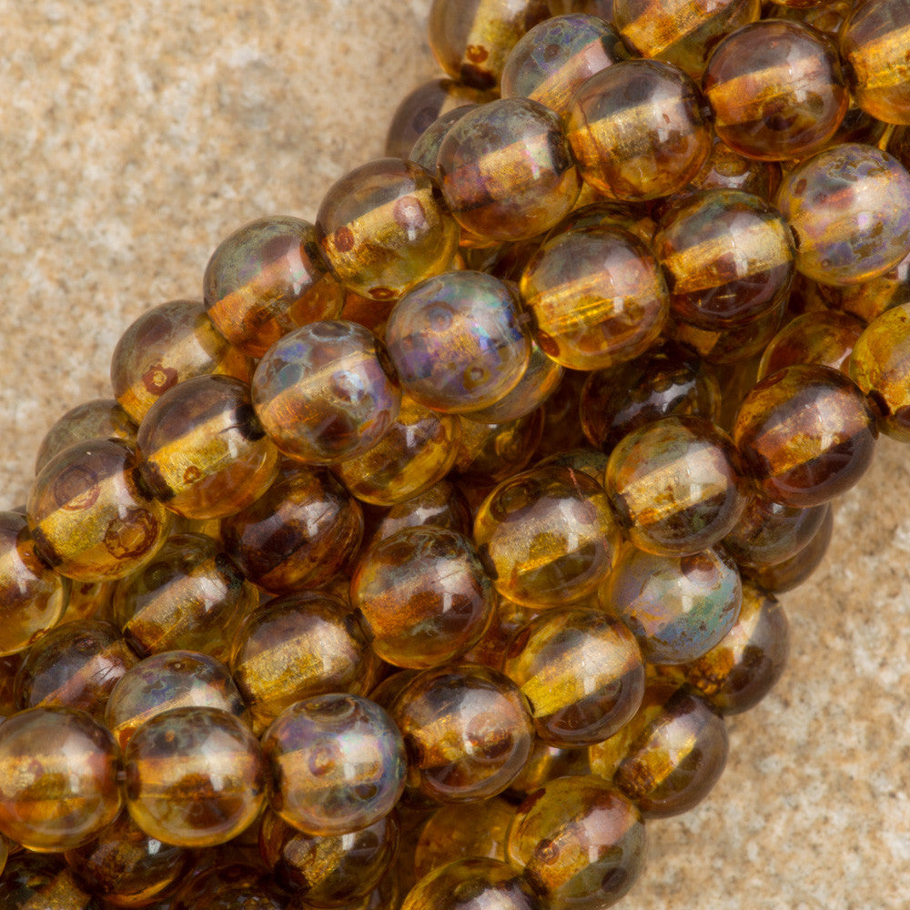 100 Czech 6mm Pressed Glass Round Crystal Picasso Beads (00030T)