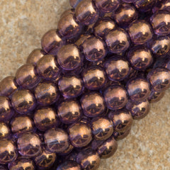 100 Czech 6mm Pressed Glass Round Beads Bronze Illusion (04415)