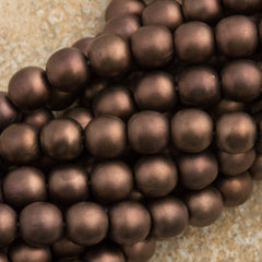 100 Czech 6mm Pressed Glass Round Beads Matte Dark Bronze (14415M)