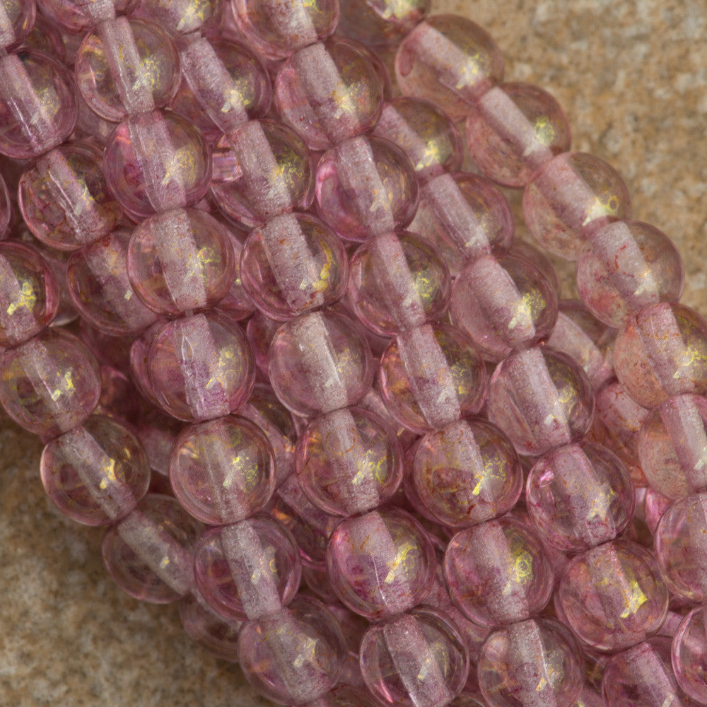 100 Czech 6mm Pressed Glass Round Beads Transparent Topaz Pink Luster (15495)