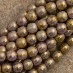 100 Czech 6mm Pressed Glass Round Beads Opaque Smoky Topaz Gold Luster (15695P)