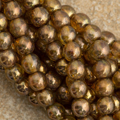 100 Czech 6mm Pressed Glass Round Beads Transparent Topaz Gold Luster (15695)