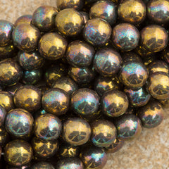 100 Czech 6mm Pressed Glass Round Oxidized Bronze Clay Beads (15768)