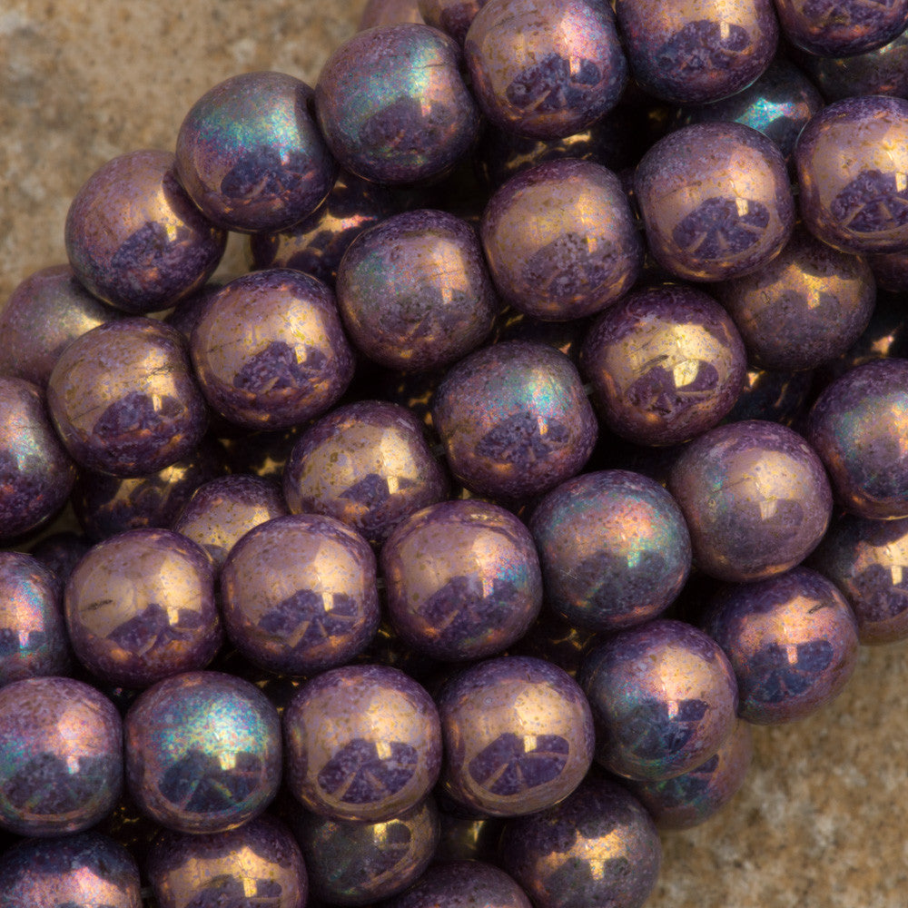 100 Czech 6mm Pressed Glass Round Opaque Smoke Bronze Luster Beads (15780P)