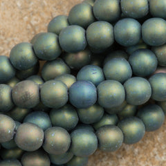 100 Czech 6mm Pressed Glass Round Matte Green Iris Beads (21155)