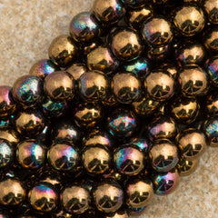 100 Czech 6mm Pressed Glass Round Beads Jet Bronze Vega (23980Y)