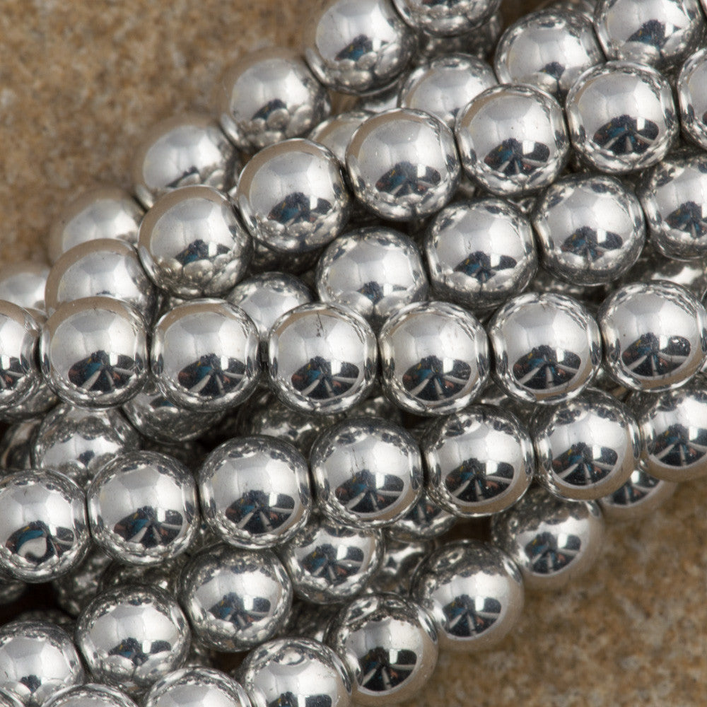 100 Czech 6mm Pressed Glass Round Beads Silver (27000)