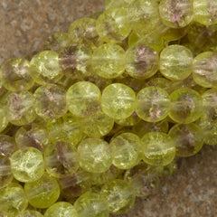 100 Czech 6mm Pressed Glass Round Olivine Amethyst Crackle Beads (27801CRK)