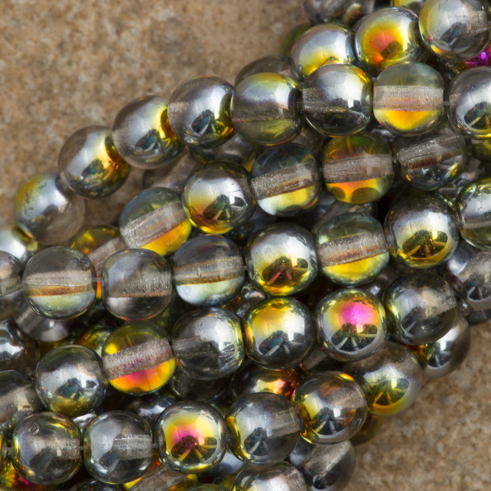 100 Czech 6mm Pressed Glass Round Crystal Marea Beads (28001)