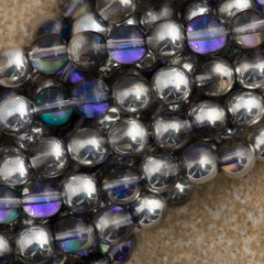 100 Czech 6mm Pressed Glass Round Silver Blue Crystal Beads (29536)