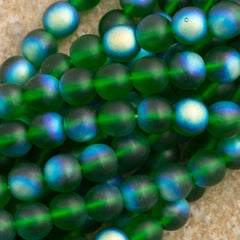 100 Czech 6mm Pressed Glass Round Matte Green Emerald AB Beads (50140MX)