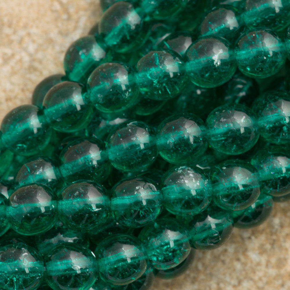 100 Czech 6mm Pressed Glass Round Emerald Crackle Beads (50720CRK)