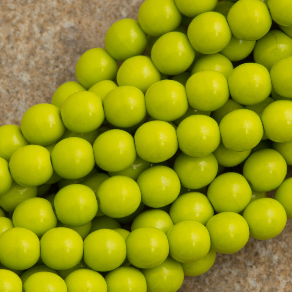 100 Czech 6mm Pressed Glass Round Opaque Olive Beads (53420)