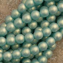 100 Czech 6mm Pressed Glass Round Gold Suede Light Teal Beads (60210MSG)