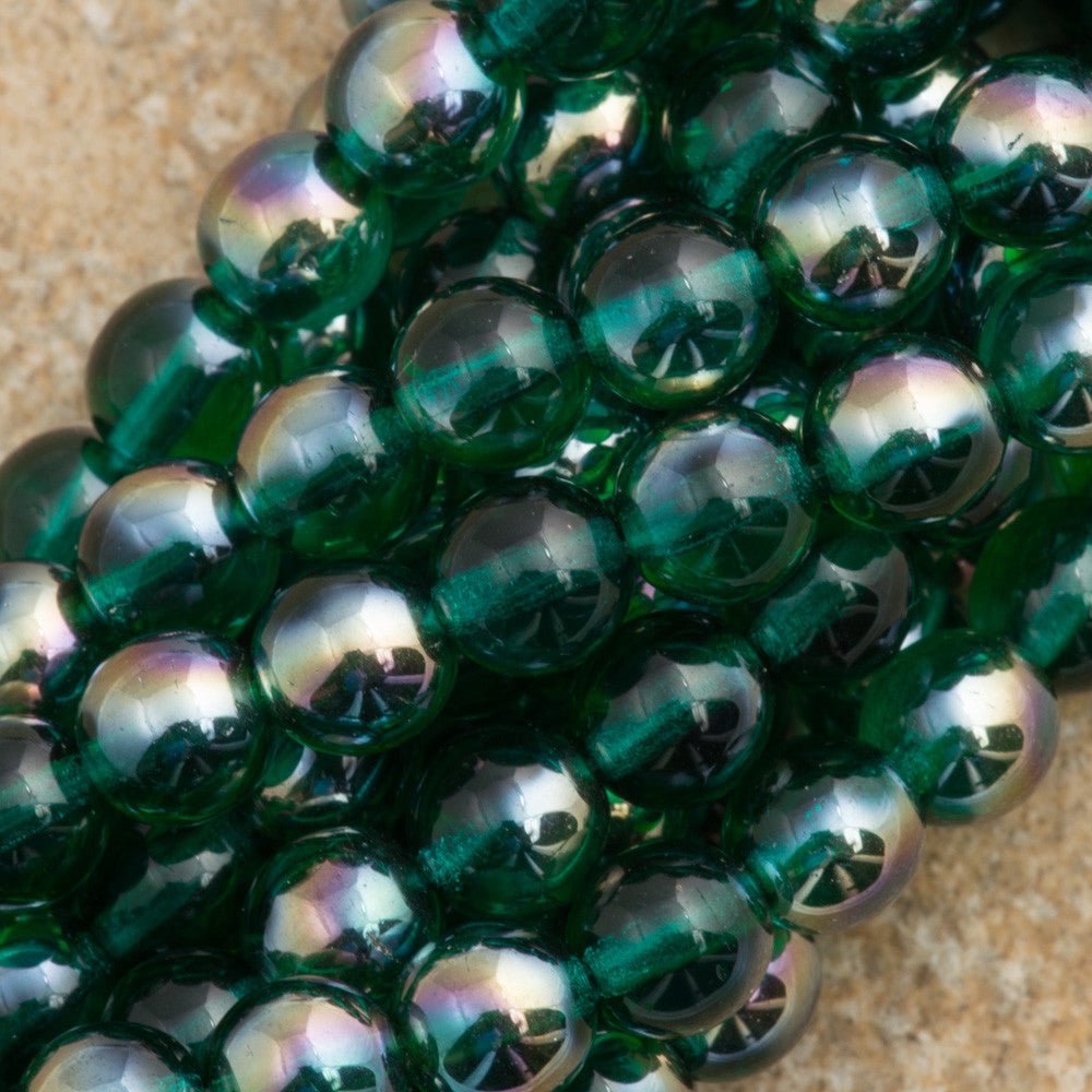 100 Czech 6mm Pressed Glass Round Viridian Celsian Beads (60230Z)