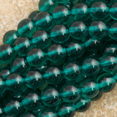 100 Czech 6mm Pressed Glass Round Viridian Beads (60230)