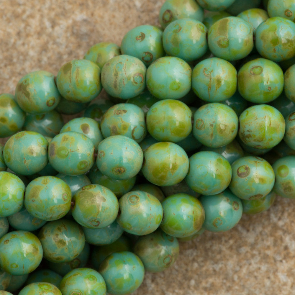 100 Czech 6mm Pressed Glass Round Opaque Turquoise Picasso Beads (63130T)