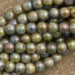 100 Czech 6mm Pressed Glass Round Beads Opaque Green Luster (65431P)