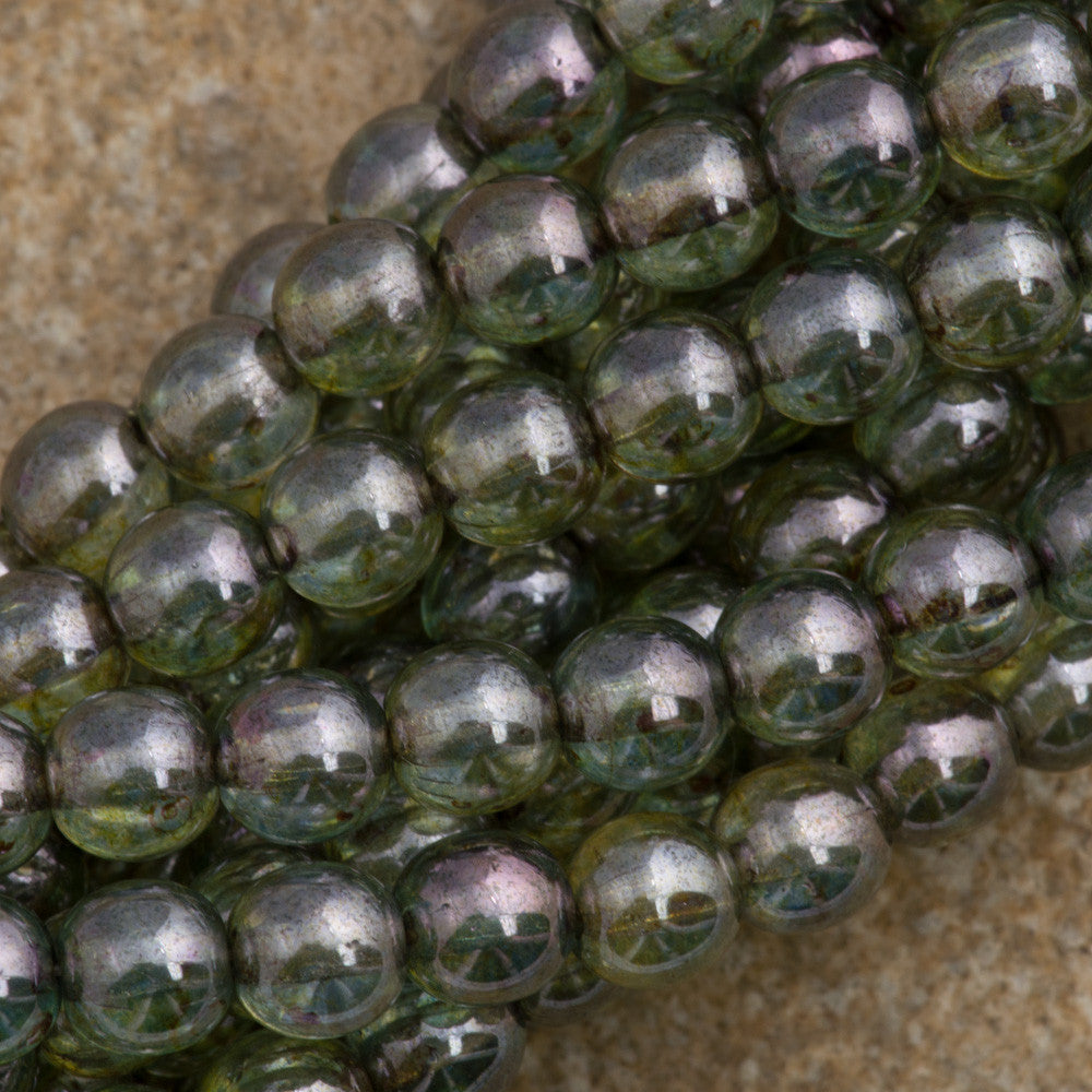 100 Czech 6mm Pressed Glass Round Beads Transparent Green Luster (65431)