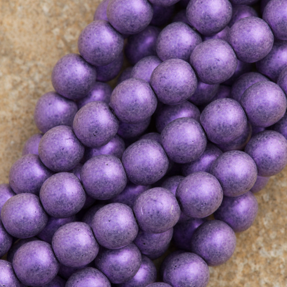 100 Czech 6mm Pressed Glass Round Beads Metallic Suede Purple (79021)