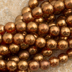 100 Czech 6mm Pressed Glass Round Sunset Maple Beads (90040B)