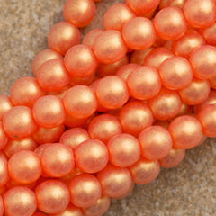 100 Czech 6mm Pressed Glass Round Gold Suede Hyacinth Beads (90040MSG)