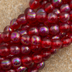 100 Czech 6mm Pressed Glass Round Luster Siam Ruby Iris Beads (90080LR)