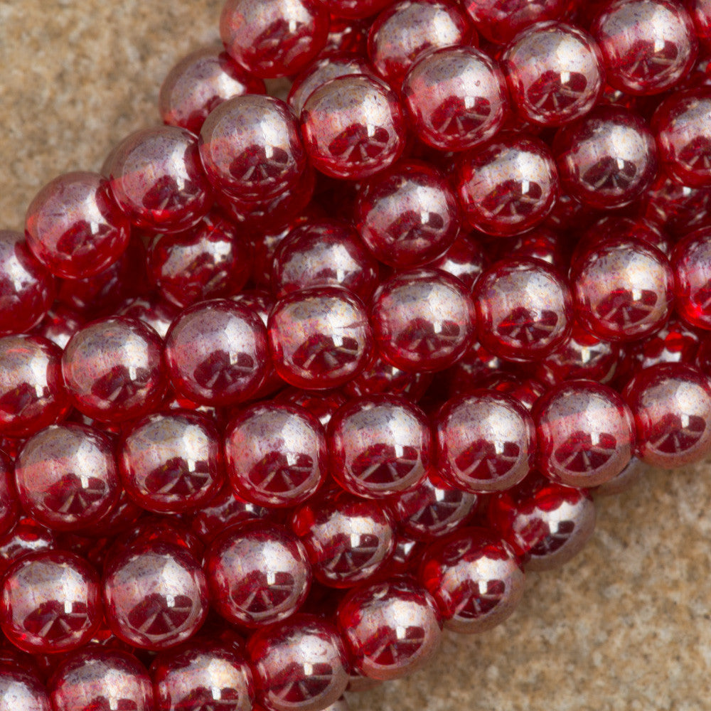 100 Czech 6mm Pressed Glass Round Siam Ruby Luster Beads (90080L)