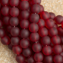 100 Czech 6mm Pressed Glass Round Beads Matte Ruby (90100M)