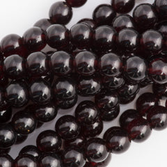 100 Czech 6mm Pressed Glass Round Beads Garnet (90110)