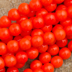 100 Czech 6mm Pressed Glass Round Opaque Bright Orange Beads (93160)