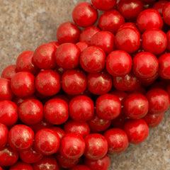 100 Czech 6mm Pressed Glass Round Opaque Red Gold Marbled Beads (93180GM)