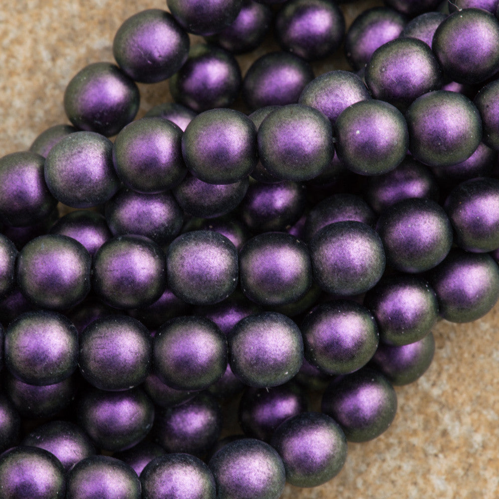 100 Czech 6mm Pressed Glass Round Polychrome Black Current Beads (94101)