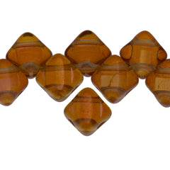 40 Czech Glass 6mm Two Hole Silky Beads Crystal Dark Apricot (00030APR)