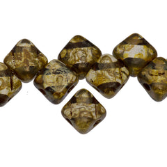 40 Czech Glass 6mm Two Hole Silky Beads Crystal Bronze Picasso (00030BT)