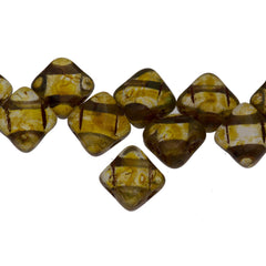 40 Czech Glass 6mm Two Hole Silky Beads Crystal Picasso (00030T)