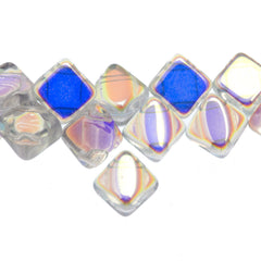 40 Czech Glass 6mm Two Hole Silky Beads Crystal AB (00030X)