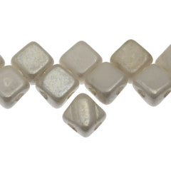 40 Czech Glass 6mm Two Hole Silky Beads Alabaster White Luster (02010WL)