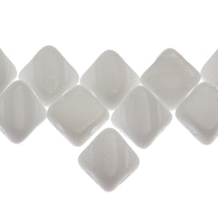 40 Czech Glass 6mm Two Hole Silky Beads Alabaster White (02010)