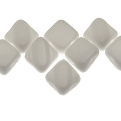 40 Czech Glass 5mm Two Hole Silky Beads Opaque White (03000)