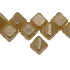 40 Czech Glass 5mm Two Hole Silky Beads Opaque Light Beige White Luster (13010WL)