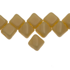 40 Czech Glass 5mm Two Hole Silky Beads Opaque Light Beige (13010)
