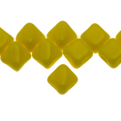 40 Czech Glass 5mm Two Hole Silky Beads Opaque Lemon (83120)